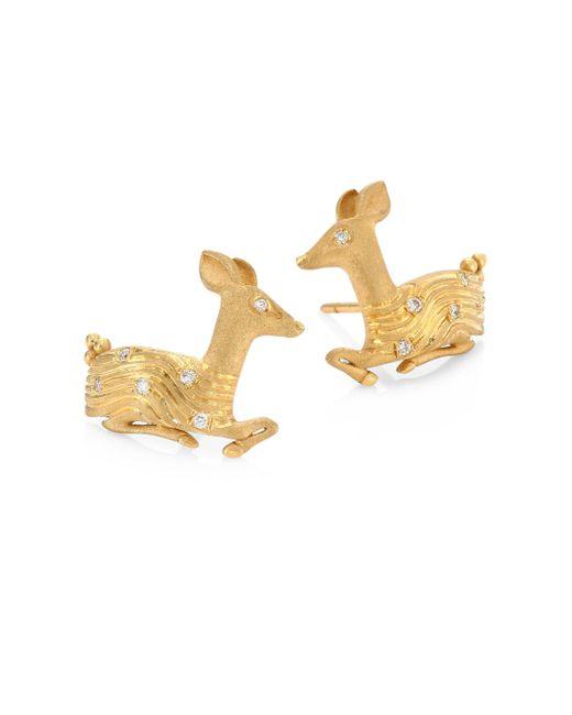 Temple St. Clair - Metallic Deer Diamond & 18k Yellow Gold Stud Earrings - Lyst