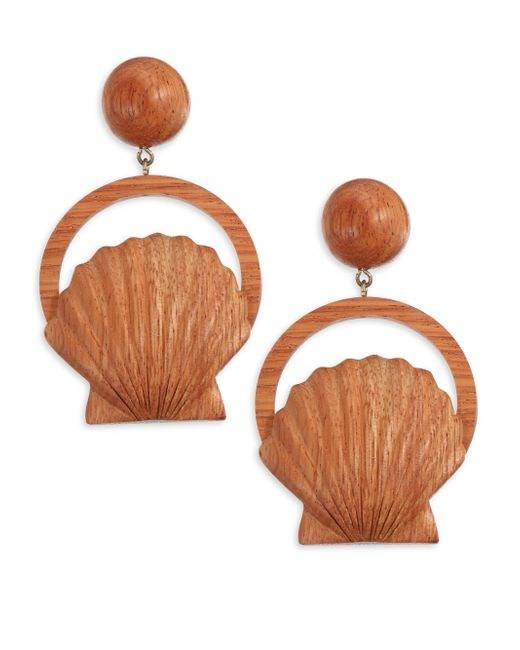 Rebecca de Ravenel - Orange Venus Bayong Wood Drop Earrings - Lyst