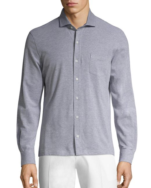 Isaia | Gray Piquet Long Sleeves Polo Shirt for Men | Lyst