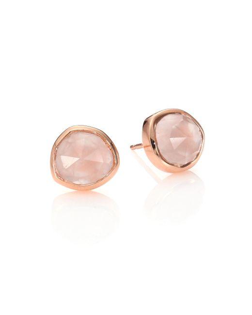 Monica Vinader - Gray Siren Rose Quartz & 18k Rose Gold Vermeil Stud Earrings - Lyst
