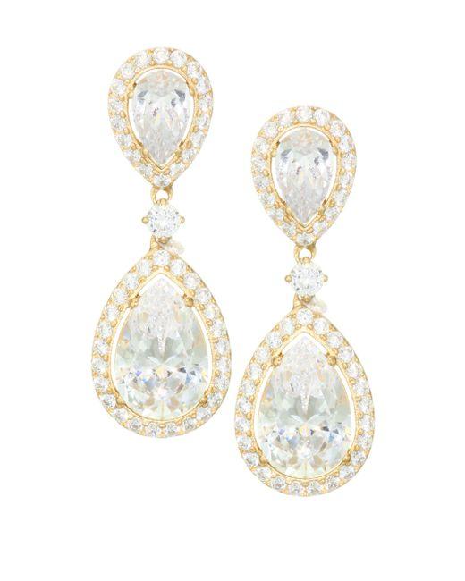Adriana Orsini - Metallic 18k Goldplated Sterling Silver Framed Double Pear Drop Earrings - Lyst