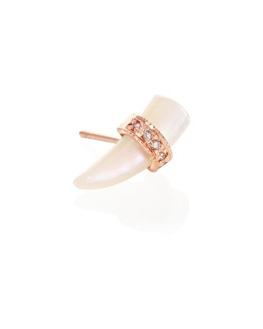 Jacquie Aiche - Multicolor Diamond Pavé & Mother-of-pearl Tusk Single Stud Earring - Lyst