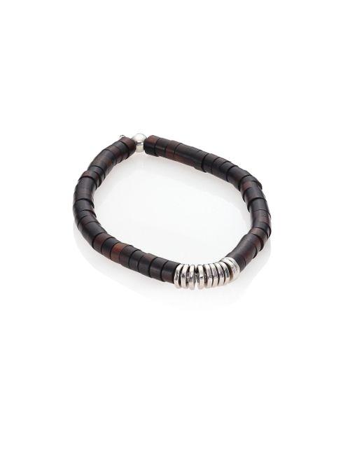 Tateossian | Brown Silver Bamboo Bracelet | Lyst
