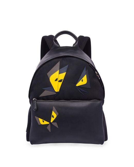 Fendi   Black Butterfly Leather & Tech-twill Backpack for Men   Lyst