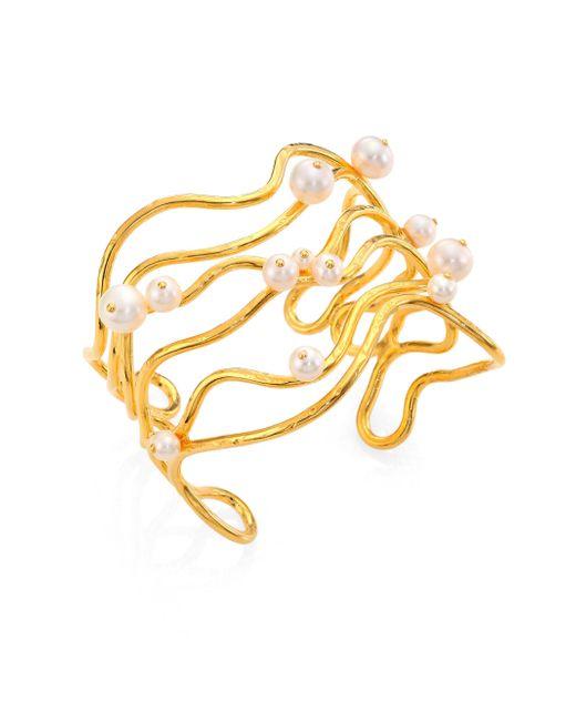 Aurelie Bidermann - Metallic Cheyne Walk Wire & Freshwater Pearl Cuff Bracelet - Lyst