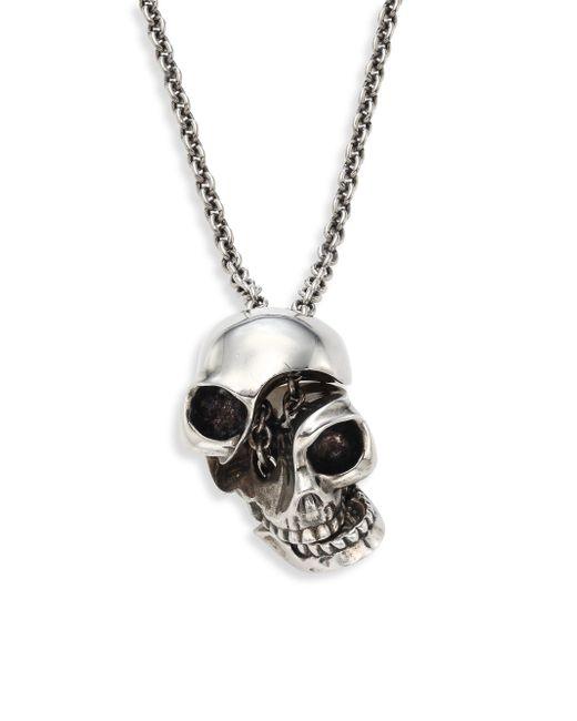 Alexander McQueen - Metallic Silvertone Brass Skull Pendant Necklace for Men - Lyst