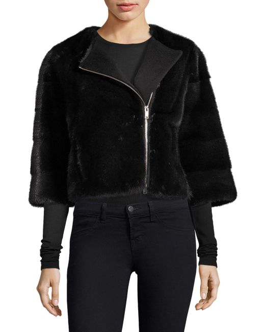 Saks Fifth Avenue - Black Mink Fur Jacket - Lyst