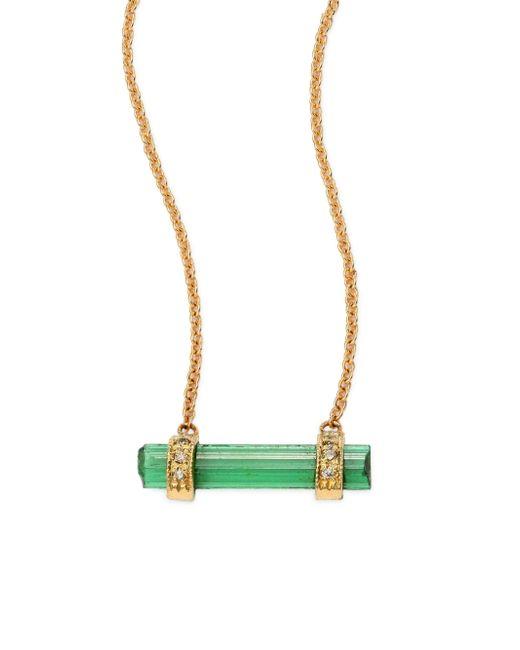 Jacquie Aiche - Metallic Diamond, Green Tourmaline & 14k Yellow Gold Bar Pendant Necklace - Lyst