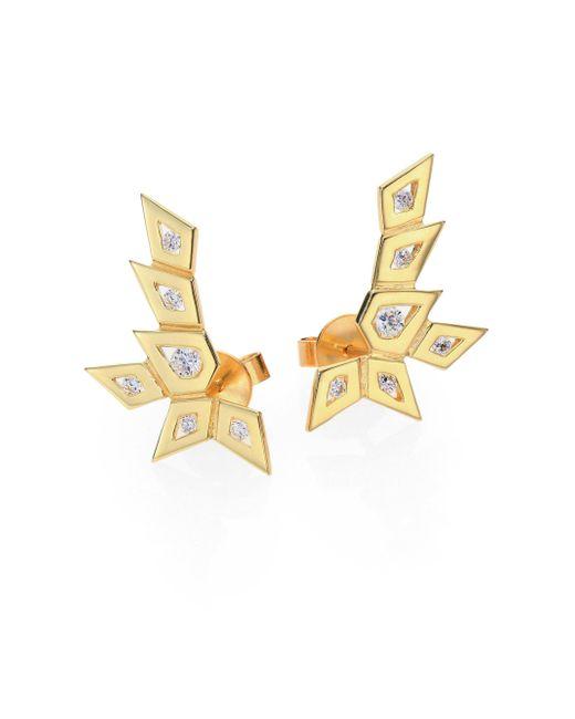 Ron Hami - Metallic Rain Diamond & 18k Yellow Gold Medium Spike Ear Cuffs - Lyst