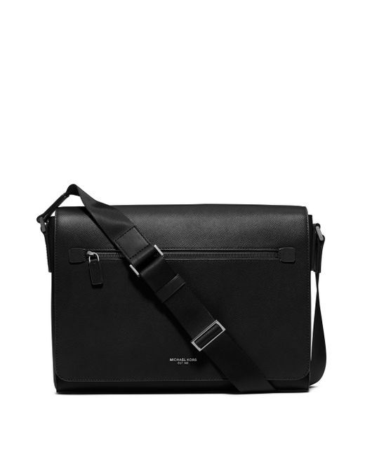 Michael Kors - Black Grain Leather Messenger Bag - Lyst