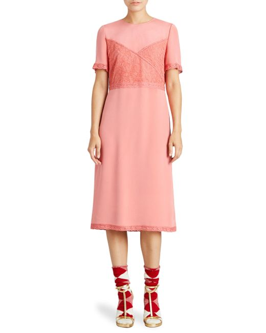 Burberry - Pink Chantilly Silk Lace Crepe Marocain Dress - Lyst