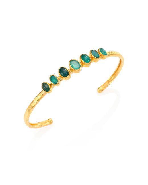 Gurhan - Metallic Amulet Hue Emerald & 24k Yellow Gold Bangle Bracelet - Lyst
