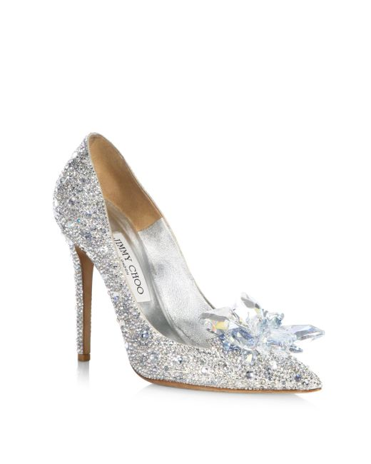 Jimmy Choo - Gray Crystal Suede Point Toe Pumps - Lyst