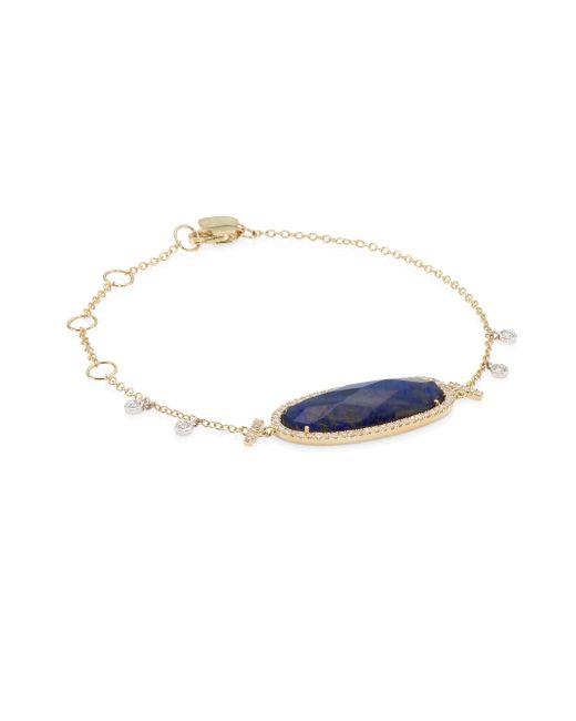Meira T - Metallic Women's Pavé Diamond, Blue Labradorite & 14k Yellow Gold Bracelet - Gold - Lyst