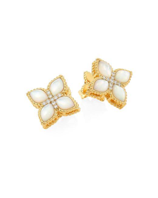 Roberto Coin - Metallic Venetian Princess 18k Yellow Gold, Mother-of-pearl & Diamond Earrings - Lyst