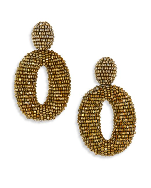 Oscar de la Renta - Metallic Classic Oscar Beaded O Clip-on Earrings - Lyst