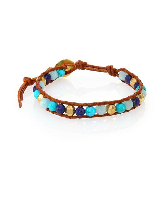 Chan Luu | Brown Lapis Lazuli, Turquoise, Amazonite & Leather Beaded Bracelet | Lyst