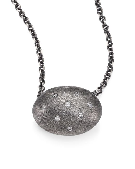 Rene Escobar - Metallic Diamond & Sterling Silver Oval Pendant Necklace - Lyst