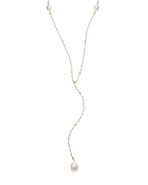 Mizuki - Metallic 15mm White Baroque Freshwater Pearl, Diamond & 14k Yellow Gold V Necklace - Lyst
