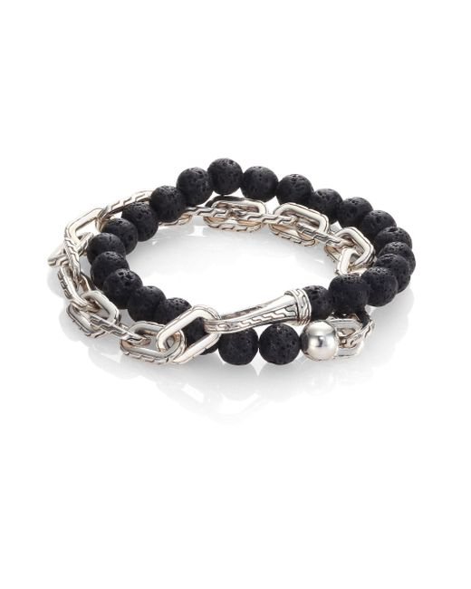 John Hardy - Gray Classic Chain Collection Beads & Link Bracelet - Lyst