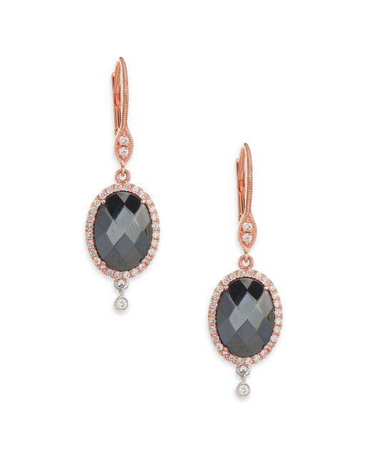 Meira T | Black Hematite, Diamond & 14k Rose Gold Drop Earrings | Lyst