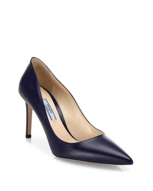 Prada - Blue Saffiano Leather Point Toe Pumps - Lyst