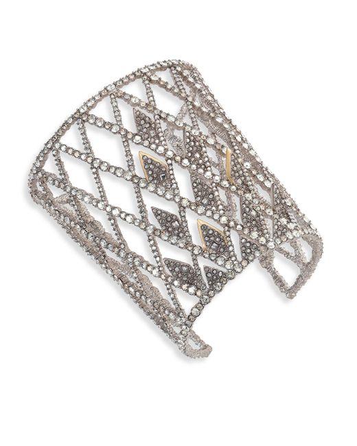 Alexis Bittar   Metallic Crystal-encrusted Spiked Lattice Cuff Bracelet   Lyst
