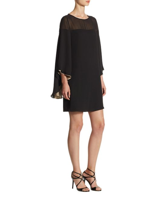 Halston Heritage | Black Butterfly Sleeved Shift Dress | Lyst