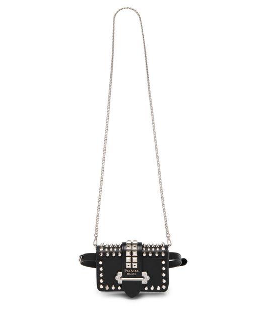 c3ce84fabb4d ... Lyst Prada - Women's Medium Cahier Studded Leather Belt Bag - Black ...