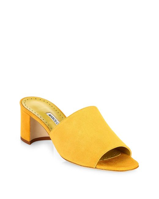 Manolo Blahnik - Yellow Rapallato 50 Suede Mules - Lyst