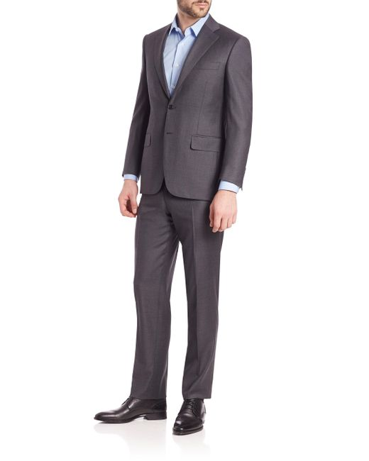 Canali - Gray Wool Two Button-front Suit for Men - Lyst