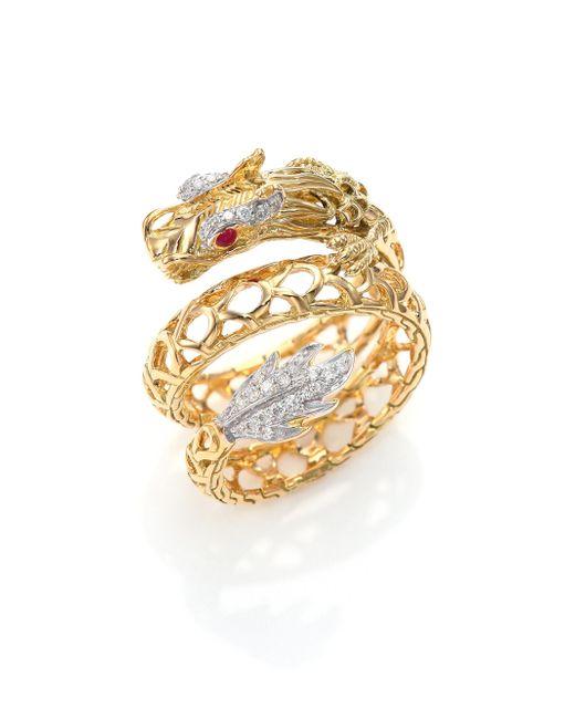 John Hardy - Metallic Legends Naga 18k Gold, African Ruby & Pavé Diamond Dragon Coil Ring - Lyst