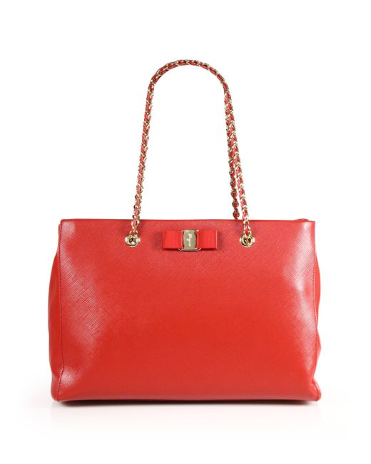Ferragamo | Red Melike Saffiano Leather Chain Shoulder Tote | Lyst