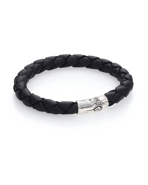 John Hardy - Black Bamboo Woven Leather And Sterling Silver Bracelet for Men - Lyst