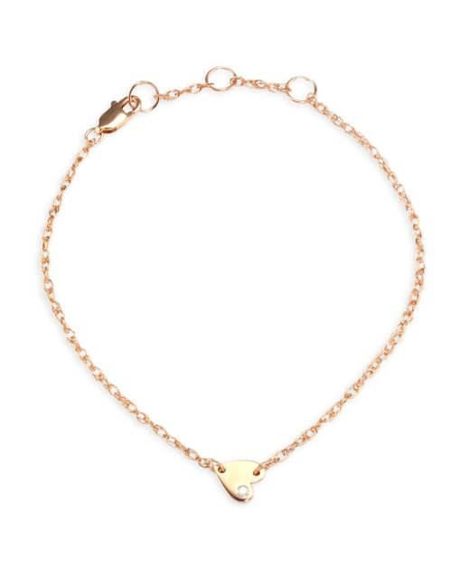 Jennifer Zeuner - Metallic Mia Mini Diamond & 18k Rose Gold Heart Anklet - Lyst
