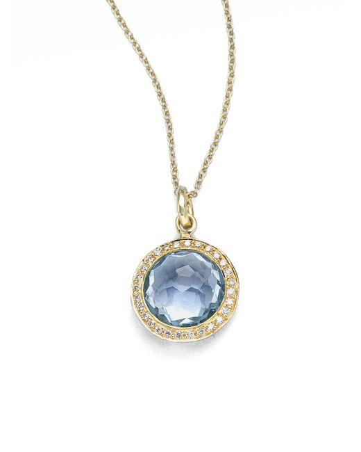 Ippolita - Metallic Lollipop Blue Topaz, Diamond & 18k Yellow Gold Mini Pendant Necklace - Lyst