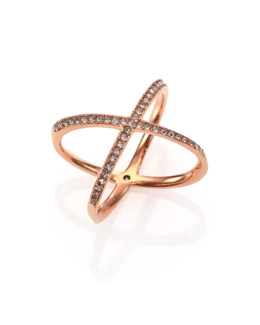 Michael Kors - Metallic Brilliance Statement Pave X Ring/rose Goldtone - Lyst