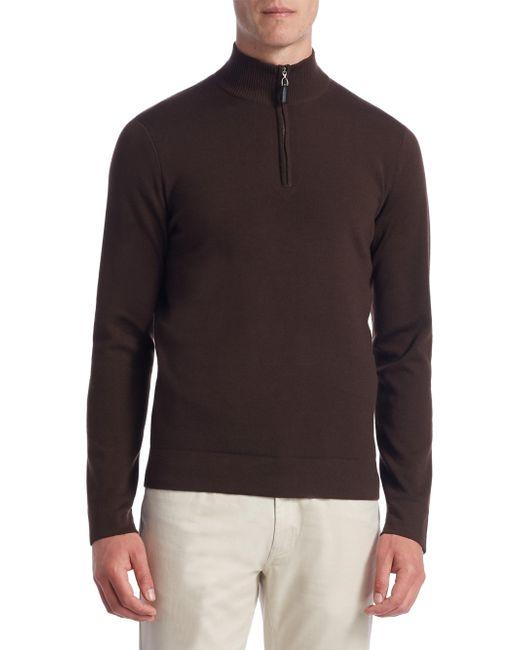 Saks Fifth Avenue | Brown Collection Tech Merino Wool Quarter-zip Sweater for Men | Lyst