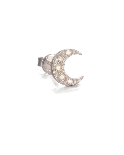Sydney Evan - Diamond & 14k White Gold Crescent Moon Single Stud Earring - Lyst