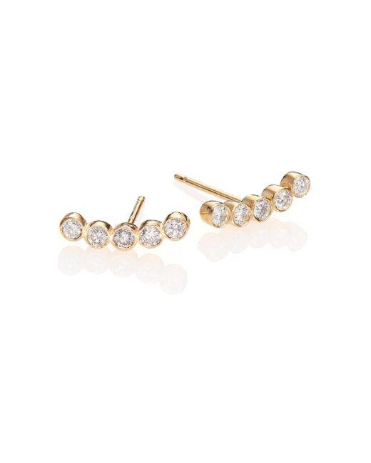 Zoe Chicco   Metallic Diamond & 14k Yellow Gold Five-bezel Stud Earrings   Lyst