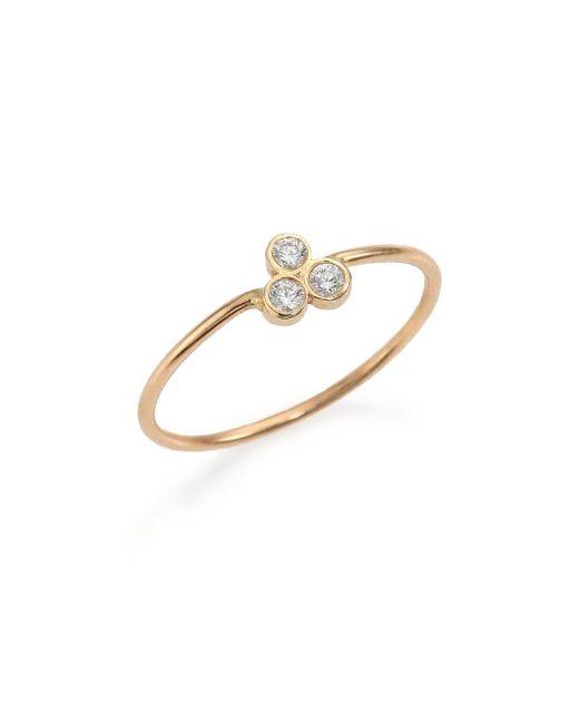 Zoe Chicco - Metallic Diamond & 14k Yellow Gold Three-bezel Ring - Lyst