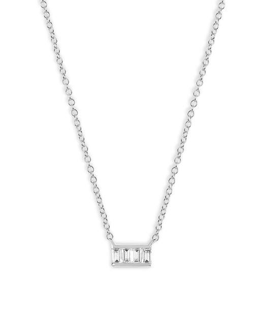 EF Collection - Metallic Baguette Diamond Mini Bar Necklace - Lyst