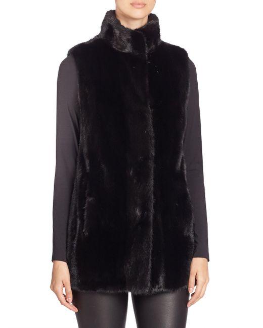 Saks Fifth Avenue - Black Mink Fur Vest - Lyst