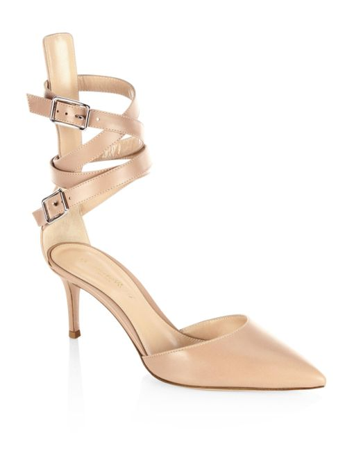 Gianvito Rossi - Natural Leather D'orsay Ankle-strap Pumps - Lyst