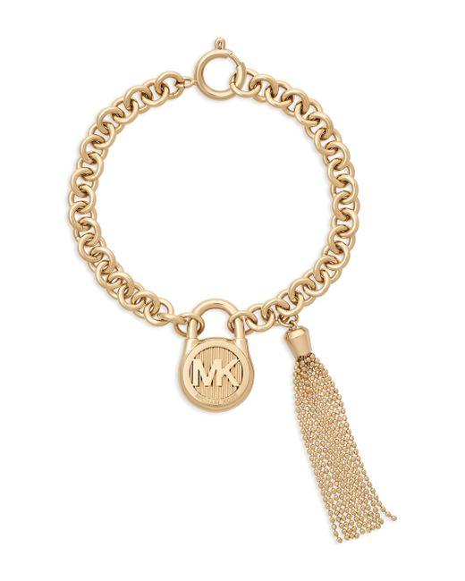 Michael Kors   Metallic Gold-tone Stainless Steel Padlock Charm & Chain Tassel Bracelet   Lyst
