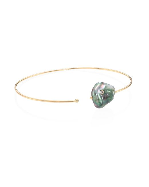 Mizuki - Diamond, 10mm Gray Baroque Pearl & 14k Yellow Gold Thin Cuff - Lyst