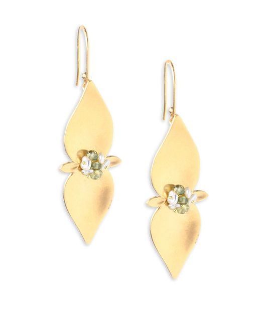 Annette Ferdinandsen - Metallic Flora 3mm Pearl, Sapphire & 14k Yellow Gold Drop Earrings - Lyst
