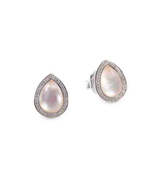 Ippolita | Metallic 925 Lollipop Small Diamond & Mother-of-pearl Teardrop Stud Earrings | Lyst