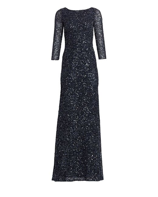 ffc66aea THEIA Women's Boatneck Sequin Tulle Gown - Midnight in Blue - Save ...
