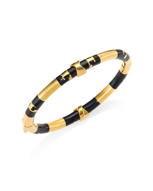 Tory Burch | Black Oro Stripe Bangle Bracelet | Lyst